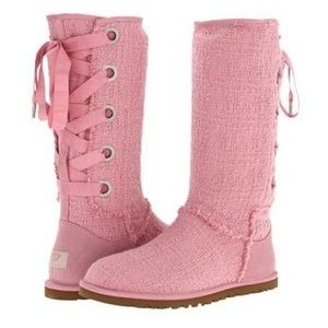 Brand new pink lace up Ugg's